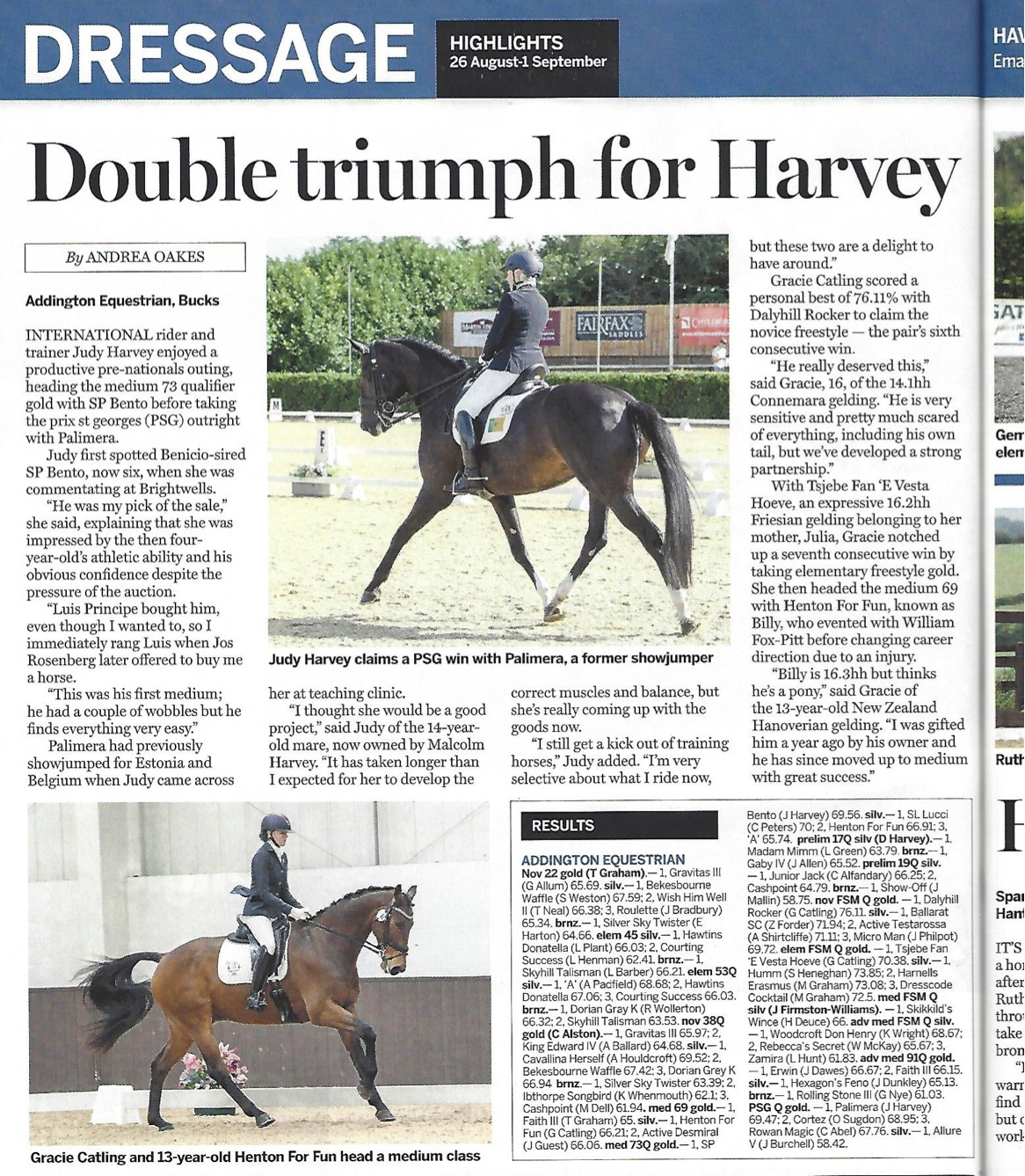 Have you seen 2TheBarn ambassador Gracie Catling was mentioned in the Horse & Hound following her success at Addington! An incredibly talented and humble rider, Gracie is proving her consistency with consecutive wins on horses of all breeds, shapes & sizes! Go Gracie!